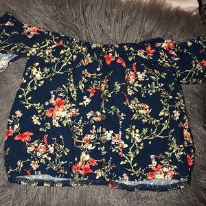 Navy blue floral pattern off the shoulder top